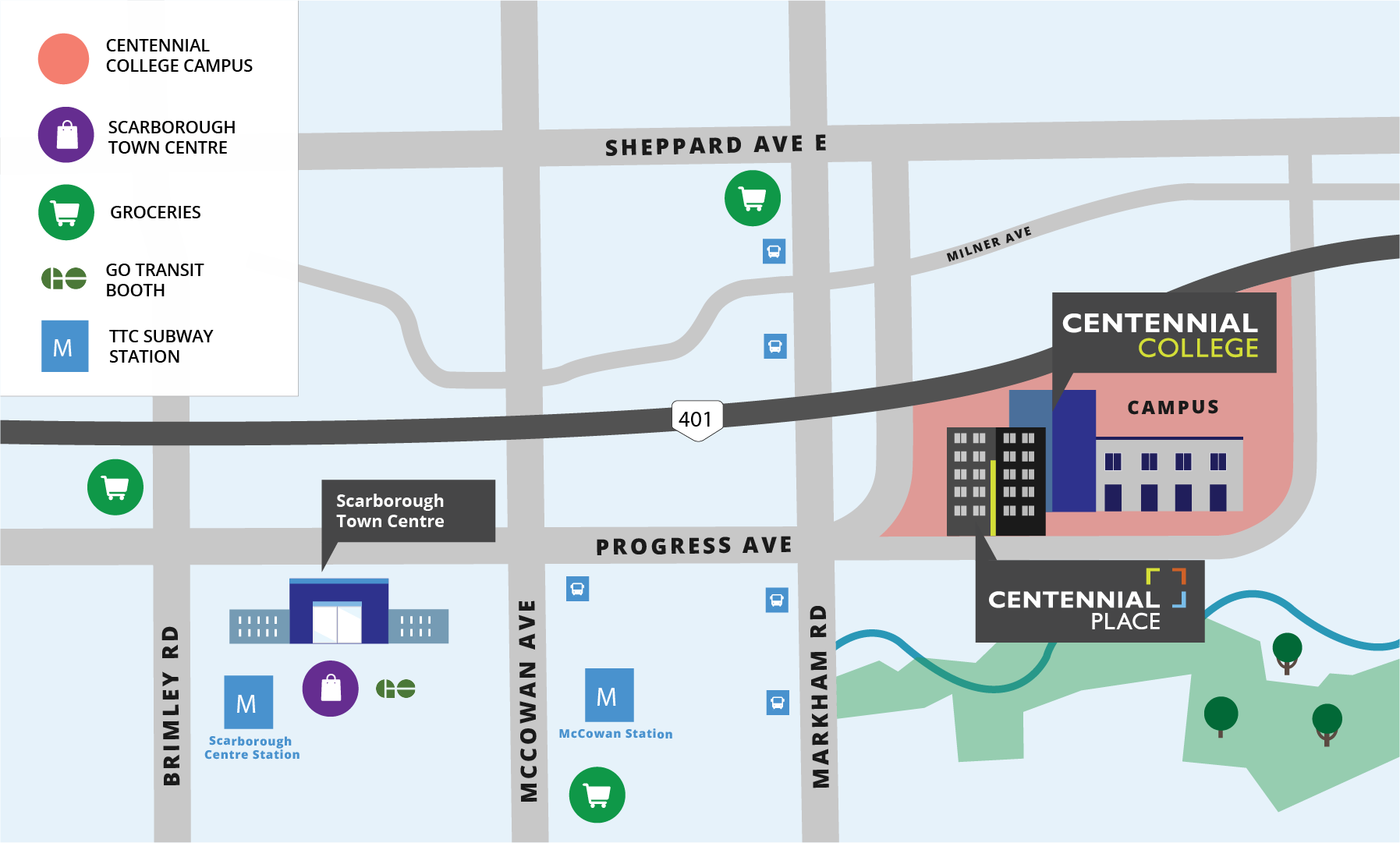 Map of the area near Centennial Place